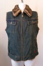 Womens ESPRIT Reversible Blue Denim Jean Brown Faux Fur Vest Size Large