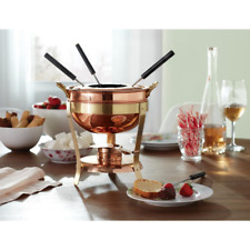 2.75-qt Fondue Set Copper Pot Chocolate Cheese Dip Brass Stand Fuel Chafing Dish
