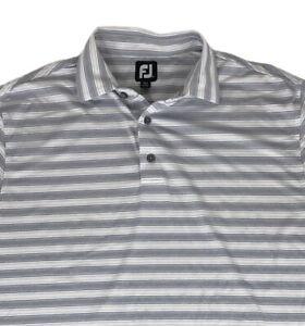 Footjoy Titleist Short Sleeve Golf Polo Shirt Men's Size L Striped W/ Patch Logo