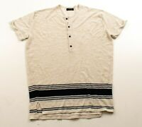 Mens Zara Man Oatmeal Knit Stripe Henley Long Shirt Size S Small