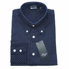 Navy Blue Micro Dot Pattern Casual Men's Shirt 100 Cotton Design by Relco XLarge