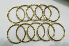 "Lot of Ten 2"" Welded Brass Finish Metal Rings For Crafts Leather Work etc"