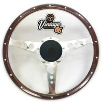 "Vw Beetle 14"" Riveted Dark Wood Rim Dished Steering Wheel & Boss Fitting Kit"