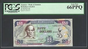 Jamaica 50 Dollars 6-8-2012 P89 Uncirculated Graded 66