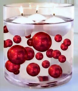 Floating Red Pearls - No Hole Jumbo/Assorted Sizes Vase Decorations