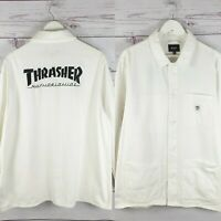 HUF x Thrasher Skateboarding Heavy White Cotton Long Sleeve Shirt Rare Size XL