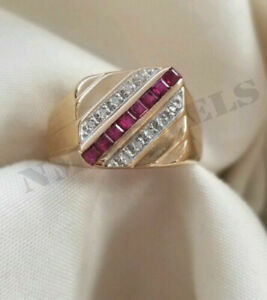 Men's 14k Yellow Gold Over 1.40Ct Round Cut Diamond & Princess Cut Red Ruby Ring