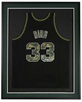 Larry Bird Signed Framed Boston Celtics Camo M&N Basketball Jersey Bird Holo BAS