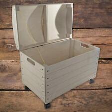 Extra Large Wooden Decorative Chest Storage Box on Wheels|56.5 x 33.5 x 42.5 cm
