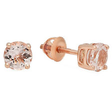 3.00 CT 10K Rose Gold Round Cut Morganite Ladies Solitaire Stud Earrings