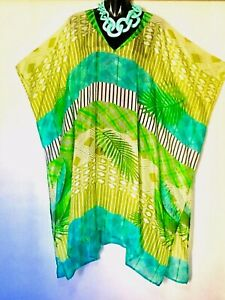 100% Silk Kaftan/ Mid-long / Generous Size / Cool Very Light / Turquoise & Lime