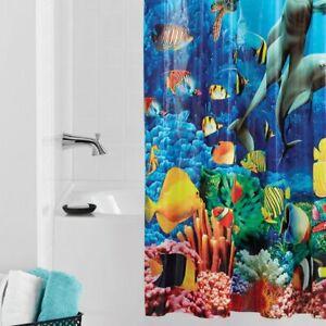 DOLPHIN PEVA Vinyl Shower Curtain 70x72 Dolphins Fish Coral Reef Undersea Ocean