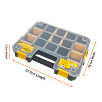 WrightFits Essential Tool Organiser Box - Stackable Multi Compartment Case - 300