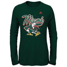 "Miami Hurricanes NCAA Adidas Girls Green ""Swirl Big Mascot"" Long Sleeve T-Shirt"