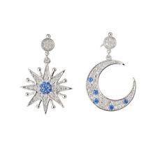 Boucles d`Oreilles CLIP ON Argenté Motif Etoile Lune CZ Bleu Plaque Or J11
