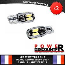 2 Veilleuses LED W5W T10 Canbus ANTI ERREUR BLANC XENON 6000k 8 SMD voiture moto