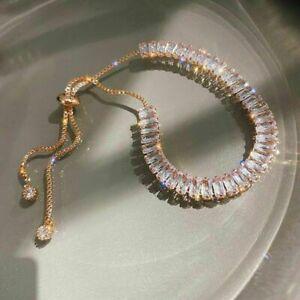 Fashion 925 Sliver,Gold Crystal Zircon Bracelet Bangle Adjustable Women Jewelry