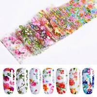 10x Nail Foils Flowers Mixed Nail Art Transfer Foil Wraps Decal Glitter Stickers