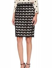 NWOT Kate Spade $268 Lace Overlay Geometric Lined Pencil Skirt Black Nude Sz 4
