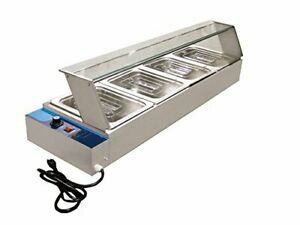 4X1/2' TRAYS FOOD WARMER ELECTIC BAIN MARIE GLASS FRONT/SIDE+POLY COVER IN STOCK
