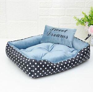 Pet Dog Cat Sofa Bed House Mat Coushion Basket Indoor Bed +Pillow Blue Size S,M