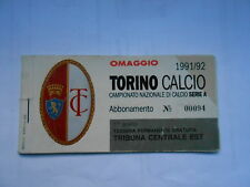 abbonamento TORINO CALCIO STAGIONE 1991-92 - 1° ANELLO TRIB.CENTRALE EST