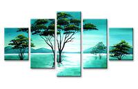 Tableau Déco Abstrait Mer Océan Arbres 5 partie Image sur toile 160 x 80 cm