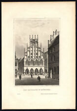 Antique Print-WESTPHALIA-MUNSTER-CITY HALL-VIEW-GERMANY-Schucking-Mayer-1872