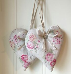 2 Organic Lavender Hearts   PEONY &  SAGE Roses and Sweet Peas Linen Ribbon