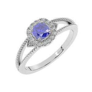 8MM Claw Set Round Brilliant Cut Diamond, Blue Sapphire Halo Ring 18K White Gold