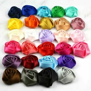 "Mini 1"" 20/50/100Pcs Small Satin Ribbon Rose Flower DIY Craft Wedding Appliques"