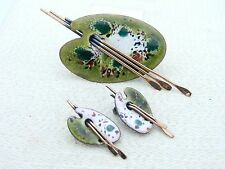 VTG MATISSE RENOIR Signed PALETTE Design Green Enamel Copper Brooch Earrings Set