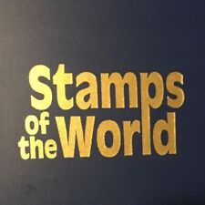 Stamps of the World Collection Book BINDER Blue Gold Lettering SOME used STAMPS