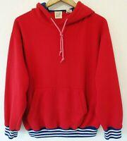 Vtg 90s GAP Red Blue Striped Surf Skate Grunge Distressed Hoodie Sweatshirt L