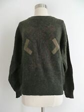 Vtg 80a 90s olive green hipster sweater faded graphic arrow patch size MED/LARGE