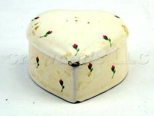 White Glazed Glossy Ceramic Heart Shaped Box and Lid with Floral Roses Pattern