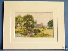 CANTERBURY FROM THE RIVER STOUR VINTAGE DOUBLE MOUNTED HASLEHUST PRINT 10 X 8
