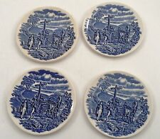 4 Blue Transferware Ironstone England Butter Pats Coasters Country Road Robbers