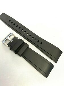 Black 22mm CURVED rubber watch strap, fits Seiko SKX SRPD range