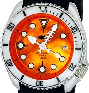 Vintage SEIKO diver FISH-BONE hands MOP dial Mod w/Genuine 7002 BIG case & movt.