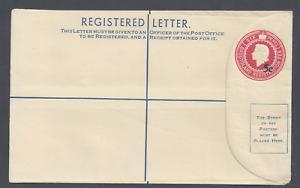 BASUTOLAND QEII POSTAL STATIONERY 5c OVER SIX PENCE REGISTERED LETTER  UNUSED
