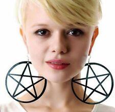 Large Black Exaggerated Pentagram Pentacle Earrings Pagan