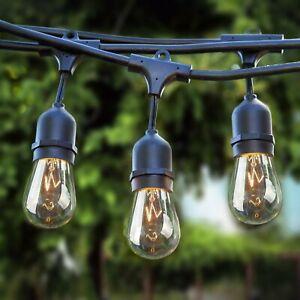 4 Sets 11M Mains Power Waterproof S14 Festoon String Lights Garden Pergola Yard