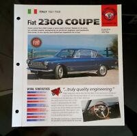Imp 61-68 Fiat 2300 coupe  information brochure hot cars race car hot rod