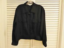 YSL Yves Saint Laurent Black SZ 42 12 100% Silk Waist High Jean Jacket Style
