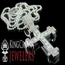 Mens Ladies Real Genuine Lab Diamond Iced Out Cross Pendant Charm With Chain Set