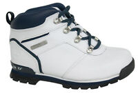 Timberland Euro Hiker Youth White Navy Lace Up Leather Boys Boots 42789 D4