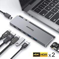 USB C Hub, 4K Dual Monitor Docking Station with 8-in-2 USB