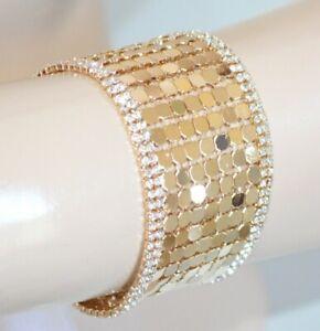 GOLD BRACELET elegant woman golden rhinestones crystals ceremony pulsera E08