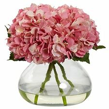 Nearly Natural 1357-PK Blooming Hydrangea with Vase- Large- Pink